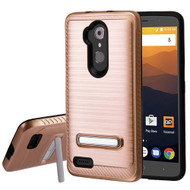 Brushed Multi-Layer Hybrid Armor Case with Kickstand for ZTE Max XL / Blade Max 3 - Rose Gold