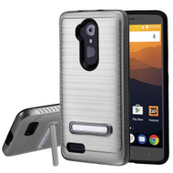 *Sale* Brushed Multi-Layer Hybrid Armor Case with Kickstand for ZTE Max XL / Blade Max 3 - Grey