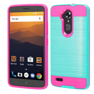 Brushed Hybrid Armor Case for ZTE Max XL - Teal Green Hot Pink