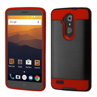 *Sale* Brushed Hybrid Armor Case for ZTE Max XL - Black Red