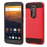 Brushed Hybrid Armor Case for ZTE Max XL - Red