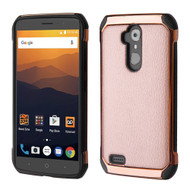 *Sale* Electroplated Tough Anti-Shock Hybrid Case with Leather Backing for ZTE Max XL - Rose Gold