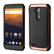 Electroplated Tough Anti-Shock Hybrid Case with Leather Backing for ZTE Max XL - Black