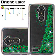 *Sale* Quicksand Glitter Transparent Case for ZTE Max XL / Blade Max 3 - Green