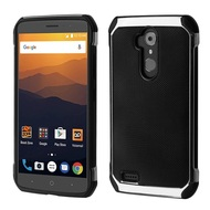 Chrome Tough Anti-Shock Hybrid Case with Leather Backing for ZTE Max XL - Black