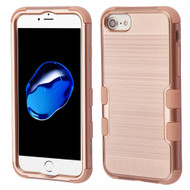 Military Grade Certified Brushed TUFF Hybrid Armor Case for iPhone 8 / 7 / 6S / 6 - Rose Gold 707