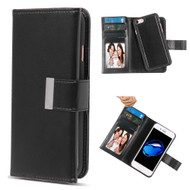 2-IN-1 Premium Tri-Fold Leather Wallet with Removable Magnetic Case for iPhone 8 / 7 - Black