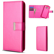 2-IN-1 Premium Tri-Fold Leather Wallet with Removable Magnetic Case for Samsung Galaxy S8 - Hot Pink
