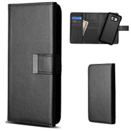 2-IN-1 Premium Tri-Fold Leather Wallet with Removable Magnetic Case for Samsung Galaxy S8 Plus - Black