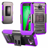 *SALE* Advanced Armor Hybrid Kickstand Case with Holster for Coolpad Defiant - Black Purple