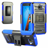 Advanced Armor Hybrid Kickstand Case with Holster for Coolpad Defiant - Black Blue