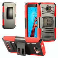 *Sale* Advanced Armor Hybrid Kickstand Case with Holster for Coolpad Defiant - Black Red