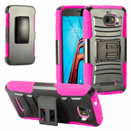 *Sale* Advanced Armor Hybrid Kickstand Case with Holster for Coolpad Defiant - Black Hot Pink