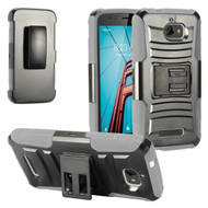*Sale* Advanced Armor Hybrid Kickstand Case with Holster for Coolpad Defiant - Black Grey