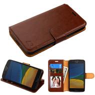 Book-Style Leather Folio Case for Motorola Moto E4 / G5 - Brown