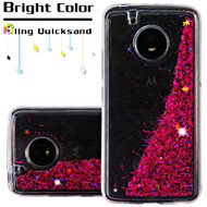 Quicksand Glitter Transparent Case for Motorola Moto E4 - Hot Pink