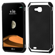 Chrome Tough Anti-Shock Hybrid Case with Leather Backing for LG X Calibur / X Venture - Black