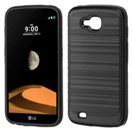 Brushed Multi-Layer Hybrid Armor Case for LG X Calibur / X Venture - Black