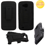 Robust Armor Stand Protector Cover with Holster for LG X Calibur / X Venture - Black