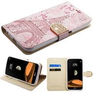*Sale* Luxury Bling Portfolio Leather Wallet Case for LG X Calibur / X Venture - Eiffel Tower