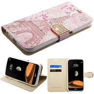 Luxury Bling Portfolio Leather Wallet Case for LG X Calibur / X Venture - Eiffel Tower