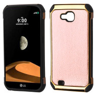 Electroplated Tough Anti-Shock Hybrid Case with Leather Backing for LG X Calibur / X Venture - Rose Gold