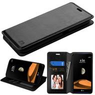 Book-Style Leather Folio Case for LG X Calibur / X Venture - Black