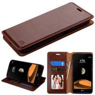 Book-Style Leather Folio Case for LG X Calibur / X Venture - Brown