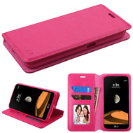 Book-Style Leather Folio Case for LG X Calibur / X Venture - Hot Pink