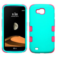 Military Grade Certified TUFF Hybrid Armor Case for LG X Calibur / X Venture - Teal Green Hot Pink