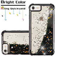 Confetti Quicksand Glitter Electroplating Transparent Case for iPhone 8 / 7 / 6S / 6 - Black