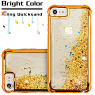 Confetti Quicksand Glitter Electroplating Transparent Case for iPhone 8 / 7 / 6S / 6 - Gold