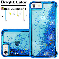 Confetti Quicksand Glitter Electroplating Transparent Case for iPhone 8 / 7 / 6S / 6 - Blue