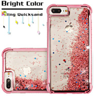Confetti Quicksand Glitter Electroplating Transparent Case for iPhone 8 Plus / 7 Plus / 6S Plus / 6 Plus - Rose Gold