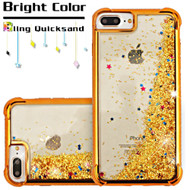 Confetti Quicksand Glitter Electroplating Transparent Case for iPhone 6 Plus / 6S Plus / 7 Plus - Gold