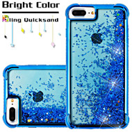 Confetti Quicksand Glitter Electroplating Transparent Case for iPhone 6 Plus / 6S Plus / 7 Plus - Blue