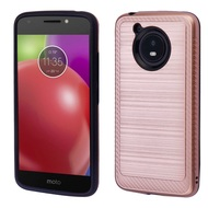 Brushed Multi-Layer Hybrid Armor Case for Motorola Moto E4 - Rose Gold