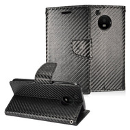 *SALE* Leather Wallet Shell Case for Motorola Moto E4 - Carbon Fiber