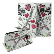 Designer Graphic Leather Wallet Stand Case for Motorola Moto E4 - Eiffel Tower