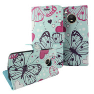 Designer Graphic Leather Wallet Stand Case for Motorola Moto E4 - Butterfly