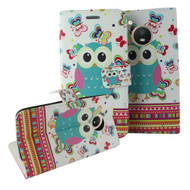 Designer Graphic Leather Wallet Stand Case for Motorola Moto E4 - Owl Butterfly
