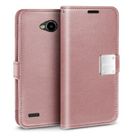*SALE* Essential Leather Wallet Case for LG X Power 2 / Fiesta - Rose Gold