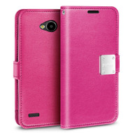 Essential Leather Wallet Case for LG X Power 2 / Fiesta - Hot Pink