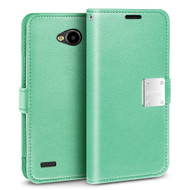 *Sale* Essential Leather Wallet Case for LG X Power 2 / Fiesta - Teal