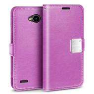 Essential Leather Wallet Case for LG X Power 2 / Fiesta - Purple