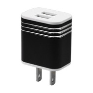 Metal Alloy 3.1A Dual USB Travel Wall Charger - Black