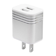 Metal Alloy 3.1A Dual USB Travel Wall Charger - Silver
