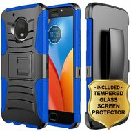 Advanced Armor Hybrid Kickstand Case + Holster + Tempered Glass Protector for Motorola Moto E4 - Black Blue
