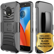 Advanced Armor Hybrid Kickstand Case + Holster + Tempered Glass Protector for Motorola Moto E4 - Black Grey