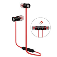 Magnetic Earbuds Bluetooth 4.1 Wireless Aluminum Alloy Headphones - Black Red